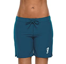 4 way stretch, quick drying and light weight fabrics Long boardshort featuring concealed Velcro Closure at front Women swim shorts with elastic waistband, offer a perfect fit Cute hippocampus logo and side curve for freedom of movement Long boyleg sw...
