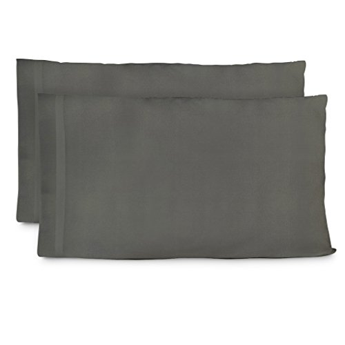 Cosy House Collection Premium Bamboo Pillowcases - Standard, Grey Pillow Case Set of 2 - Ultra Soft & Cool Hypoallergenic Blend from Natural Bamboo Fiber