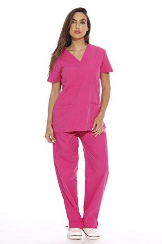 22252V-S Hot Pink Just Love Women's Scrub Sets / Medical Scrubs / Nursing Scrubs