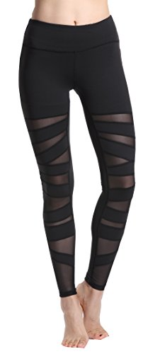 Lotsyle Women's Mesh Yoga Pants Fitness Leggings High Waist Active Pants, Black4, Medium