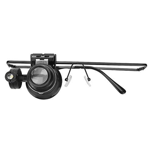 DAUERHAFT Lupa 20X para joyería, Hierro y Materiales para Lentes, luz LED, para relojeros y Trabajadores de reparación de Relojes
