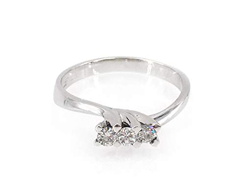 Jewelab Anello Donna Oro Bianco 18 kt Trilogy Diamanti 0,21 ct.