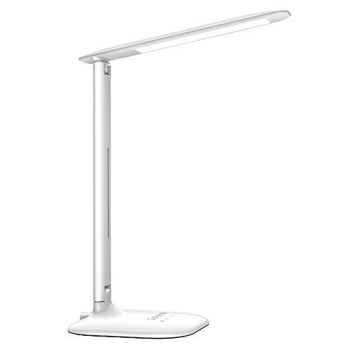 Dohomai LED Lámpara de Escritorio, Lámpara de Mesa Plegable con Alfombrillas Antideslizantes, 3 Modos de Iluminación y 5 Niveles de Brillo, 5W 14 LED, Protección Ocular, para Dormitorio Oficina