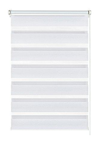 GARDINIA Doppelrollo zum Klemmen oder Kleben, Duo-Rollo/ Seitenzugrollo, Transparente und blickdichte Streifen, Alle Montage-Teile inklusive, Weiß, 75 x 150 cm (BxH)