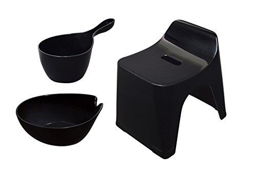 シンカテック ヒューバス お風呂3点セット 風呂椅子25cm&湯おけ&手桶 ブラック HU-BK