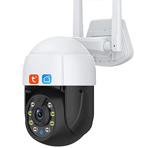 Tuya Smart Life Cámara IP de 3MP, zoom digital 4X para exteriores IP66 Wifi HD PTZ Visión nocturna AI Cámara de videovigilancia con detección de movimiento,Camera+32g