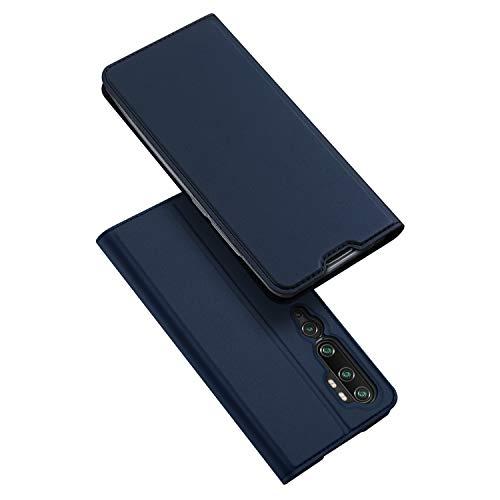 DUX DUCIS Hülle für Xiaomi Mi Note 10 / Mi Note 10 Pro, Leder Flip Handyhülle Schutzhülle Tasche Hülle mit [Kartenfach] [Standfunktion] [Magnetverschluss] (Blau)