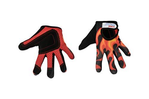 KIDDIMOTO Fahrradhandschuhe für Kinder, mit Fingern, Flammen (groß), 8–12 Jahre