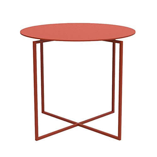 YUMEIGE-SIDE TABLE Carbon Steel Side Table, Geometric Element, Wedding Dining/Wine Hallway Furniture, 15.74inch In Diameter, 5 Colors end table (Color : Coral Red, Size : 15.74 * 15.74 * 13.70in)