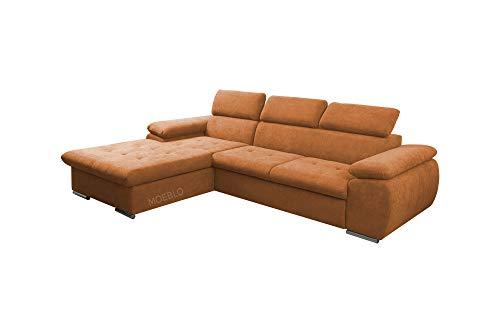 mb-moebel Ecksofa mit Schlaffunktion Eckcouch mit Bettkasten Sofa Couch L-Form Polsterecke NILUX (Orange, Ecksofa Links)