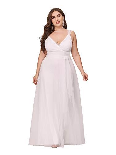 Ever-Pretty Vestidos Invitada Boda Talla Grande Largo para Mujer Tul A-línea Escote...