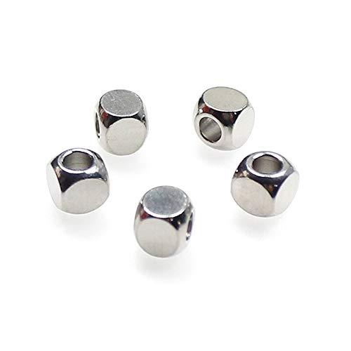 50 unids/lote 304 cuentas espaciadoras finas de acero inoxidable 2 3 4 5 6mm hipoalergénico metal cuentas sueltas DIY joyería hacer hombres mujeres pulseras
