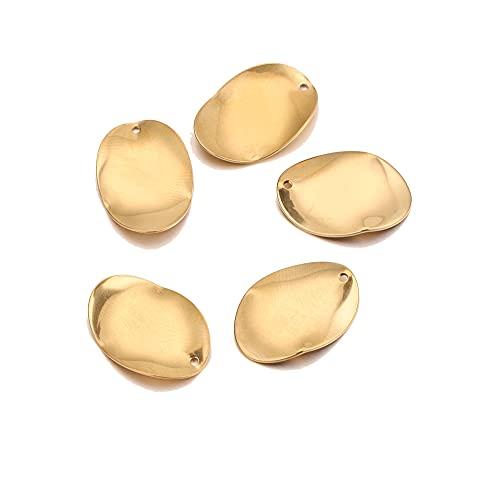 BOSAIYA PJ 1 0PCS Distorsión de Oro de Acero Inoxidable Pendiente Redondo Irregular Bricolaje Cuelga el Pendiente Suspensiones de Suministros Pendientes de Oro TL821 (Color : Oval Gold)