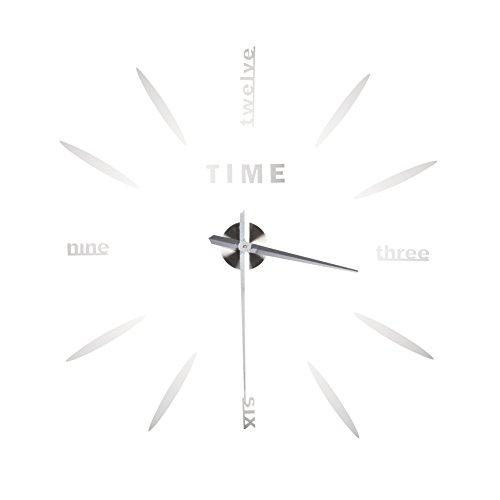 Yosoo 3D DIY facile da montare orologio decorazione della parete senza cornice grande orologio kit moderno autoadesivo parete orologio da parete casa soggiorno camera da letto decorazione (argento)