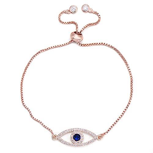 CLEARNICE Pulsera con dijes de Ojo Malvado de circonita Azul Brillante, eslabones de Cadena de Cobre, Pulseras y brazaletes para Mujer, Pulsera de joyería, Longitud 18-22 Cm