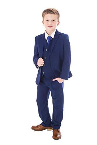 V.C. 5tlg. Festlicher Kinderanzug für Jungen Kommunionanzug blau (128)