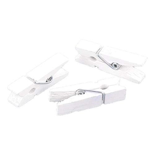Sadingo Holzklammern Weiß zum basteln, aufhängen, dekorieren, 50 Stück, 3,5x0,7 cm, Dekoklammern, Handwerksprojekte