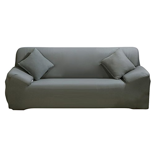 SHANNA - Funda elástica para sillones y sofás de 1, 2, 3 o 4plazas, cubierta antideslizante en tejido elástico extensible, protector, tela, Gris, 3-Seater Chair + 1pcs Free Pillowcase