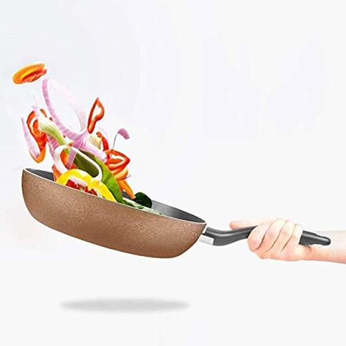 Wok Antiadherente Skillet Cacerola sin palanca para el hogar, huevo frito, filete frito, olla de desayuno, saludable y menos aceitoso