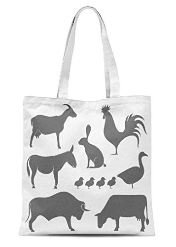 Animals Canvas Tote Bag Farm Isolated Crafts Shoulder Bag Kids Gift