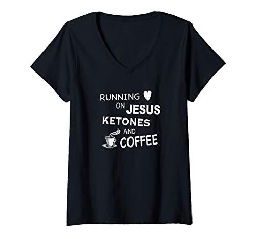 Womens Running on Jesus, Ketones, and Coffee - Sugar Free Mom V-Neck T-Shirt