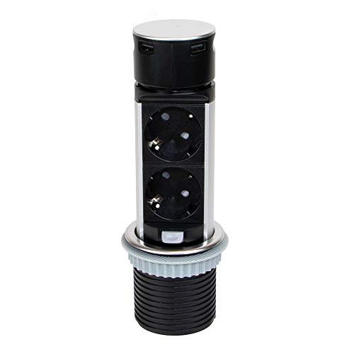 EMUCA - Regleta multienchufe retráctil con 2 enchufes schuko EU y 2 Puertos USB, Torre de enchufes Vertical empotrable con Push para encimera de Cocina o Escritorio
