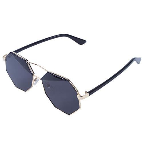 CUHAWUDBA Spiegel Design Achteck Sonnenbrille (Schwarz)