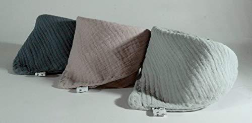 3 Musselin Dreieckstücher/Halstuch/Spucktuch Musselin Baby oder Kleinkind/grau altrosa hell hellgrau