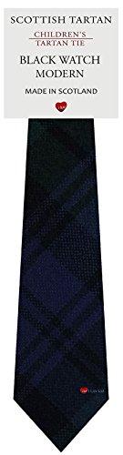 I Luv Ltd Garçon Tout Cravate en Laine Tissé et Fabriqué en Ecosse à Black Watch Modern Tartan