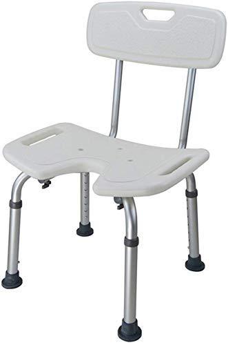 YAeele Antideslizante Taburete taburetes Blanca, Seguro y Protegido Comfort Respaldo Tipo T Silla de baño de Ancianos/discapacitados/Embarazada Ajustable aleación de Aluminio Antideslizante baño h