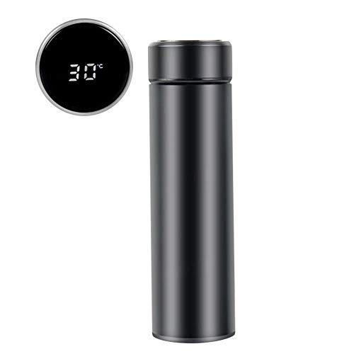 Bouteille Isotherme en Acier Inoxydable avec Indicateur de Temp/érature /à Ecran LED Anti-fuite Sans BPA Tasse Etanche pour Eau Chaude Froide-Noir Waflyer 500mML Bouteille deau Intelligente
