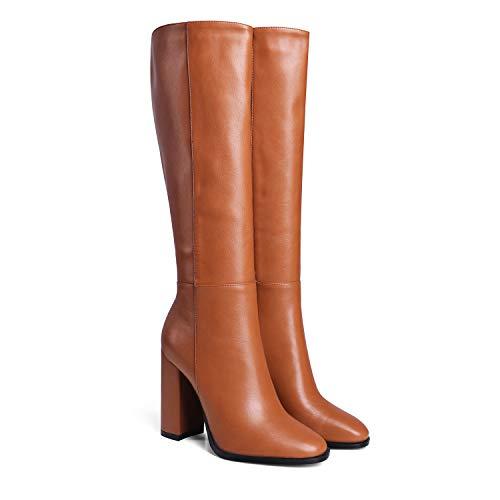 LEHOOR Women Chunky Block Heel Round Toe Knee High Boots Side Zipper High Heeled Matte Leather Casual Simple Ladies Shoes Brown 6 M US