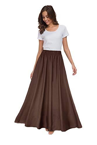 Sinono Womens Chiffon Retro Maxi Skirt Vintage Ankle-Length Skirts (XX-Large, Brown)