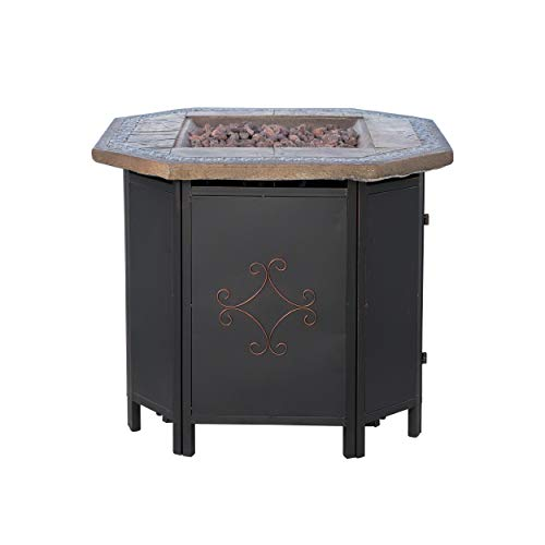 "Christopher Knight Home 296664 Myrtle Outdoor Octagonal Fire Pit Table - 30"" Propane Gas Patio Heater with Lava Rocks"