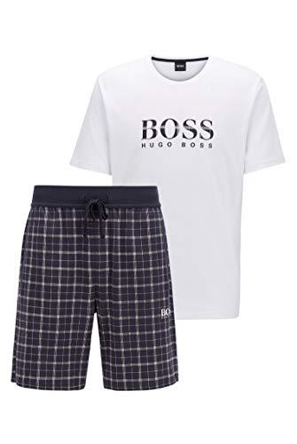 BOSS Herren Relax Short Set Pyjama aus Baumwolle mit Karierter Shorts