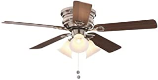 CLARKSTON 44 IN. INDOOR CEILING FAN WITH 3 TULIP LIGHT KIT, BRUSHED NICKEL WITH MAPLE/WALNUT BLADES