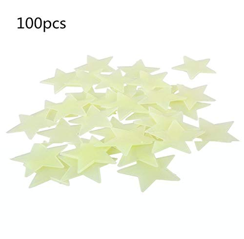 100 Stück Sterne Leuchten im Dunkeln Wandtattoos Fluoreszierend Fototapeten Leuchtend Kunst Aufkleber Baby Kindergarten Schlafzimmer Wanddekoration von SamGreatWorld