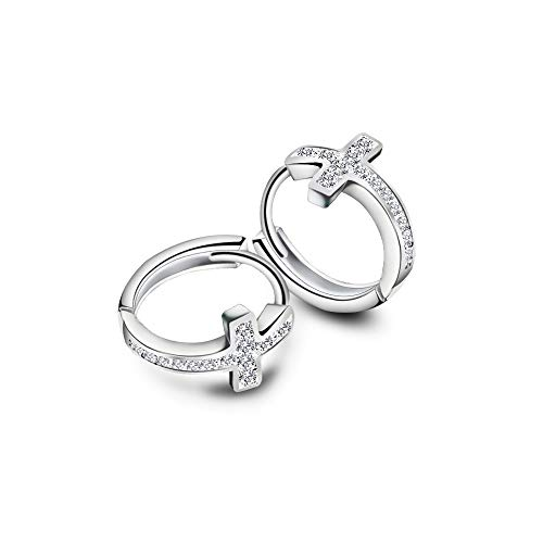 Cubic Zirconia Cross Small Hoop Earrings for Women Girls Sterling Silver Crystal Religious Tiny Huggie Hoops 12mm