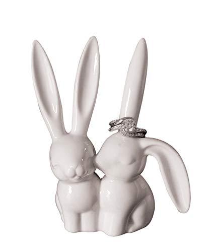 """Creative Co-Op DA2618 White Ceramic Bunny Ring Holder, 3"""" L x 4"""" H"""