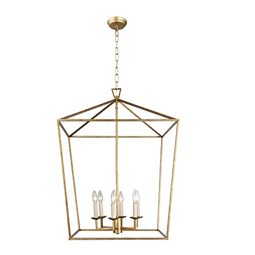 W24' X H34' 6 Light Steel Cage Large Lantern Iron Art Design Candle-Style Chandelier Pendant, Foyer,Hallway,Ceiling Light Fixture Steel Frame Cage (Gold)