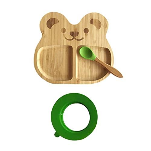 ABOOFAN Platos Divididos para Niños Pequeños Plato de Bambú en Forma de Oso para La Cena con Base de Cuchara para Niños Bebés Niños