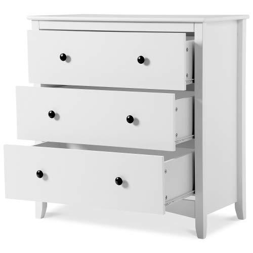Nachttisch,Weiß Kommode Vintage Nachttische Aufbewahrung Schubladenschrank mit 4 Schublade Schrank Organizer Nachtschrank für Wohnzimmer Schlafzimmer,80 x 41 x 84 cm(Weiß)