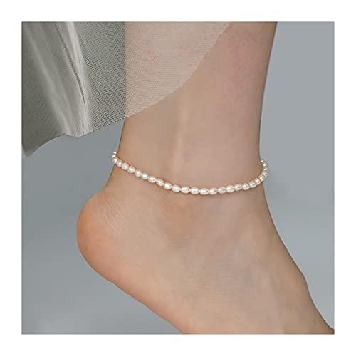WWWL Fußkette Echte natürliche Süßwasserperle-Fußkettchen Mode Dame Elastizität Kette Fußkettchen Strand Fuß Armband Schmuck für Frauen (Color : 23cm Rice)