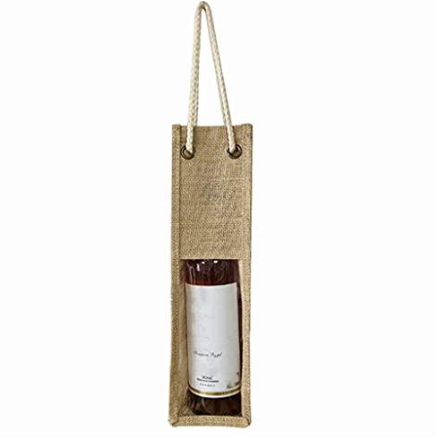 sakose Portador de Vino de Yute Bolsas de Asas Reutilizables de arpillera Ventana Transparente con Asas Bolsa de Regalo