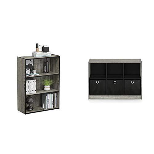 Furinno Pasir 3-Tier Open Shelf Bookcase, French Oak Grey & Basic 3x2 Bookcase Storage, 3%22 X 2%22, French Oak Grey/Black