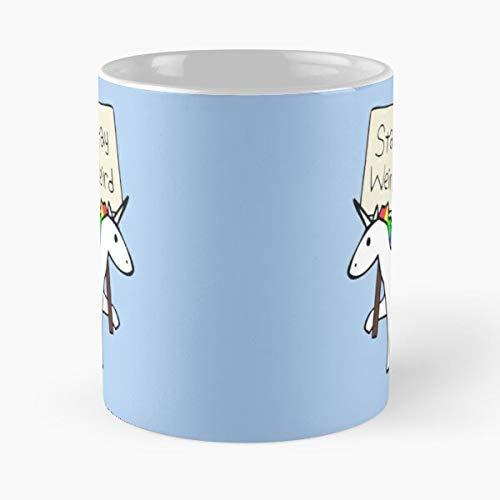 Unicorns Sign Unicorn Weird Stay - Tazas de café con diseño de unicornio, color blanco