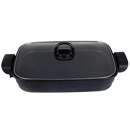 KoruPC Elektrische barbecue, hot pot, rechthoekig, modern hot pot, huishouden, hot pot, pan, rookvrij, zonder stikken, friser, stew braden, koken, pot.6L.