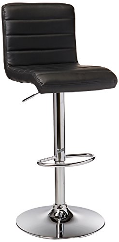 Furniture of America CM-BR6905 Silla Ajustable para Barra Estilo Contemporáneo, Tapizado en Vinil, Passore, Color Negro/Pl