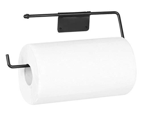 ARSUK Soporte para rollo de cocina, papel para toallas, dispensador grande, estante montado en la pared, cabe en un armario o debajo de un armario de metal (negro mate)