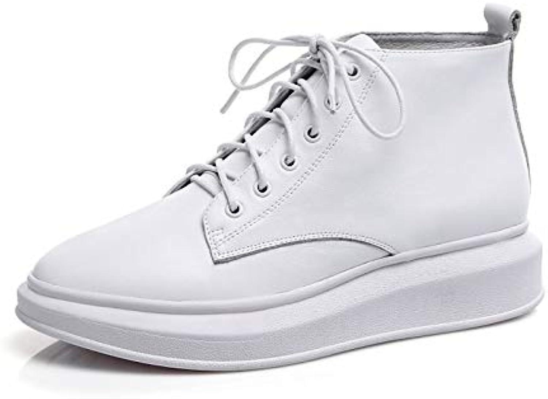ZHZNVX Kvinnliga skor Nappa Leather Leather Leather Fall och Winter Comfort skor Flat Heel vit  svart  för att ge dig en trevlig online shopping